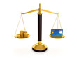 3d illustration: Balance credit cards and gold coins. Keeping mo