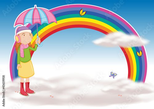 In de dag Regenboog a girl with umbrella