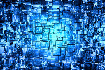 Fototapeta Blue cubic space