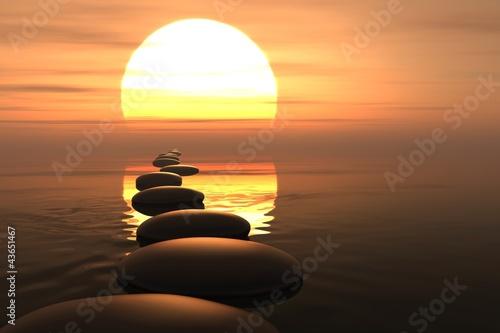 Zen path of stones in sunset - 43651467