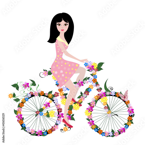 Poster Bloemen vrouw flower girl on bike