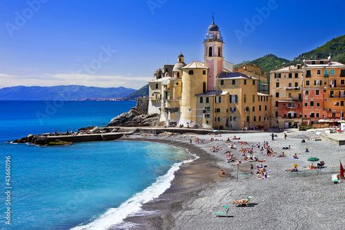 Canvas Prints Liguria colors of sunny Italian coast - Camogli, Liguria