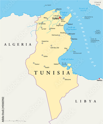 Türaufkleber Weltkarte Tunisia political map with capital Tunis, national borders, most important cities, rivers and lakes. Illustration with English labeling and scaling. Vector.