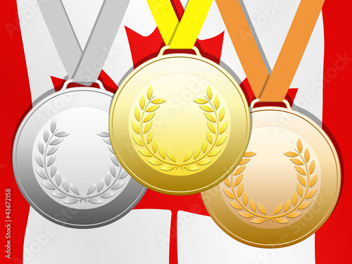 Medals on bottom Canadian colors - Buy this stock