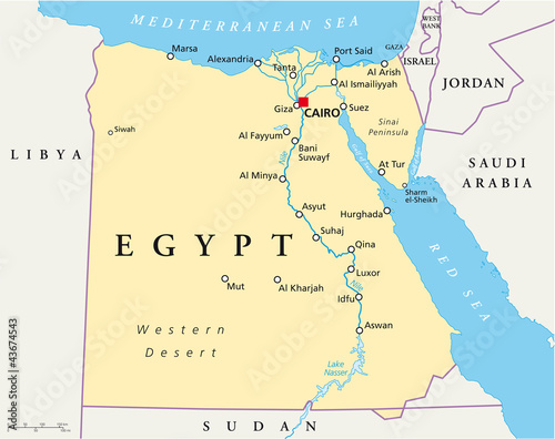 Egypt political map with capital Cairo, Nile, Sinai ...