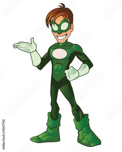 Poster Superheroes Green Super Boy Hero Presentation Hand on Waist