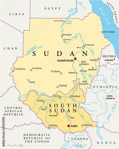 Sudan and South Sudan political map with capitals Khartoum