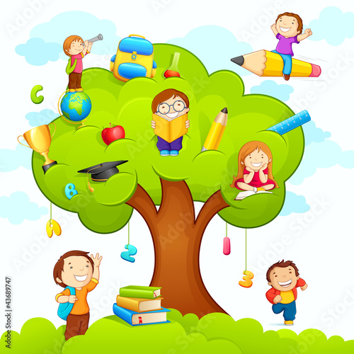 vector illustration of kids studying on education tree #43689747