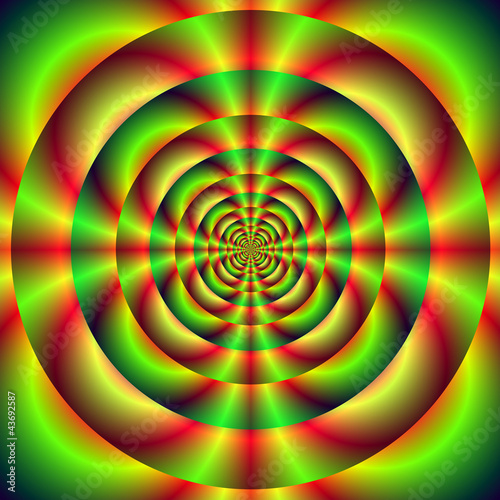Spoed Foto op Canvas Psychedelic Red Green and Yellow Rings