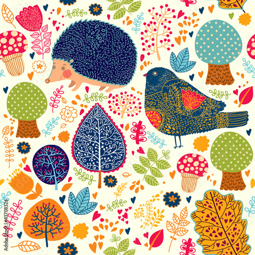 Autumn seamless pattern with flowers, trees, leaves and crew cut - 43708326