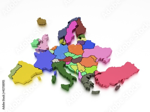 Garden Poster World Map 3d rendering of a map of Europe