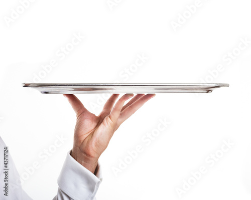 Fotografie, Obraz  Hand holding an empty dish