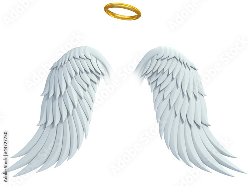 Valokuvatapetti angel design elements - wings and golden halo isolated