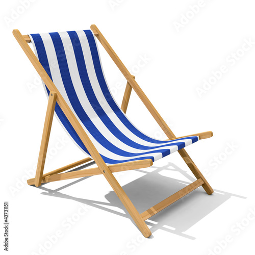 Foto-Rollo - Deck-chair with blue and white stripe pattern