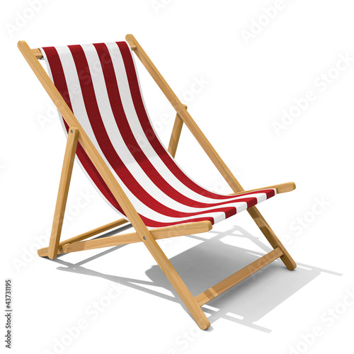 Fototapeta Deck-chair with red and white stripe pattern