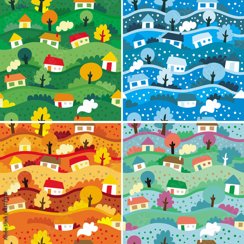 Poster de jardin Route Seamless patterns with 4 seasons