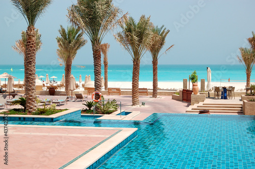 Poster de jardin Abou Dabi Swimming pools at the luxury hotel, Saadiyat island, Abu Dhabi,