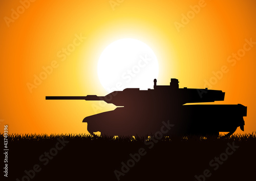 Poster Militaire Silhouette illustration of a heavy artillery
