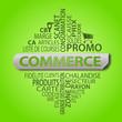 Leinwanddruck Bild - nuage de mots ; commerce fond vert