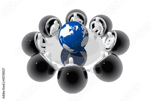 Stampe  Reunión alrededor de bola del mundo