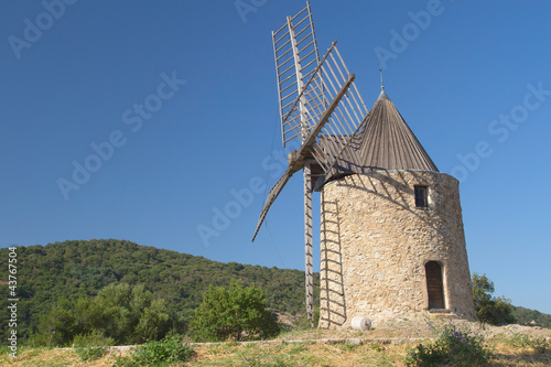 Aluminium Prints Mills Ancient stone windmill (Horizontally)
