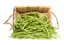 Bunch Of Green Beans Coming Out Of A Wooden Basket
