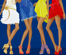 Long Legs Of Four Chic Girls Dressed In Evening Gowns