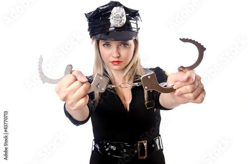 Woman police isolated on white Fototapeta
