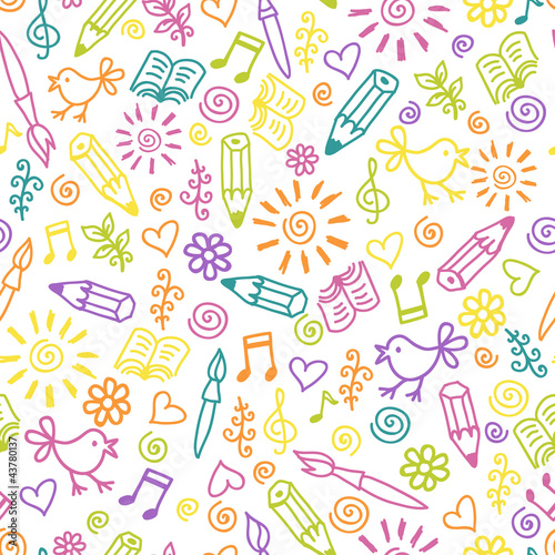 Cheerful childlike seamless pattern