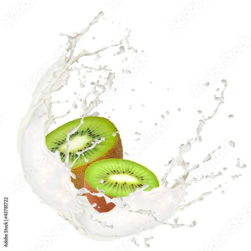 Foto op Canvas In het ijs Milk splash with kiwi isolated on white