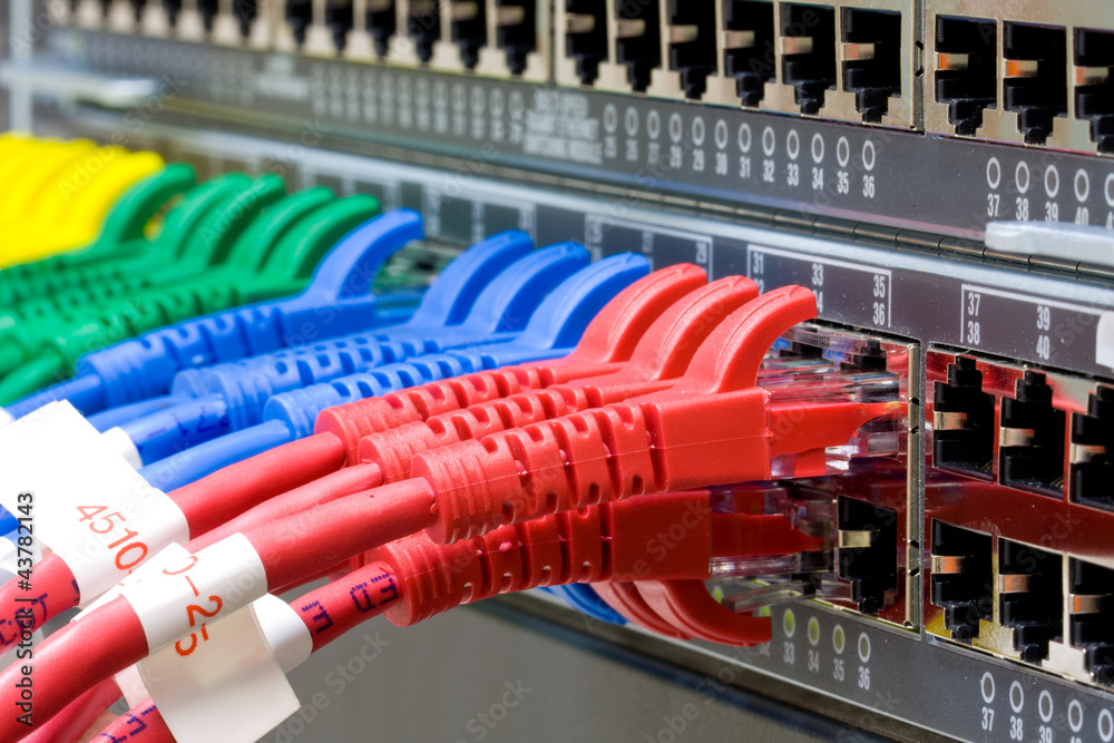Fototapety, obrazy: Network switch and UTP ethernet cables