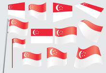Set Of Flags Of Singapore Vect...