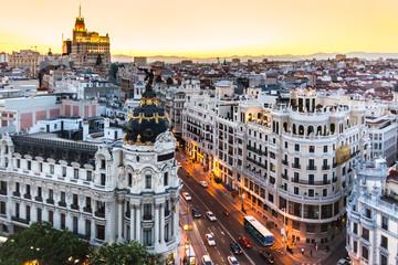 Panel Szklany Miasta Panoramic view of Gran Via, Madrid, Spain.