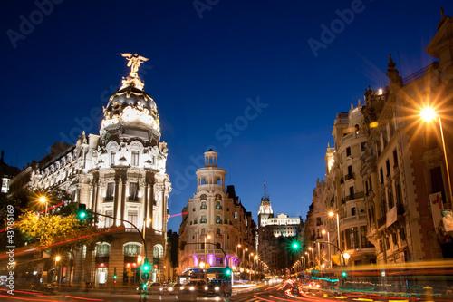 Spoed Fotobehang Madrid Gran Via in Madrid, Spain, Europe.