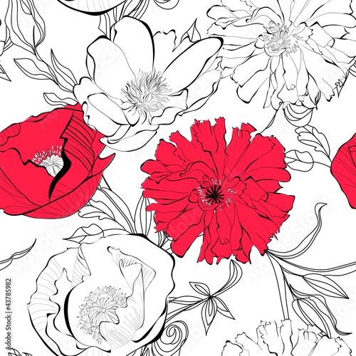 Keuken foto achterwand Abstract bloemen Seamless pattern with Poppy flowers