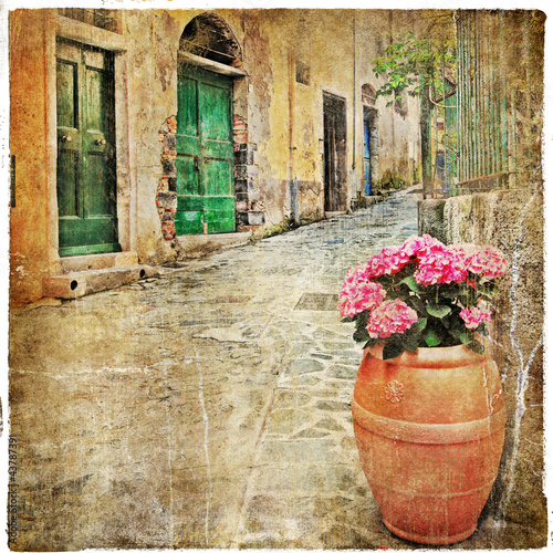 Fototapeta na wymiar charming old streets of mediterranean