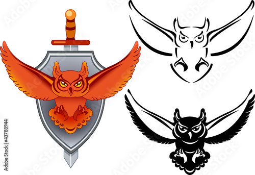 Photo Stands Owls cartoon Coat of Arms with owl