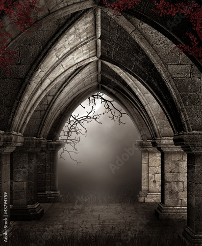 Fototapeta Ruiny kościoła nocą obraz