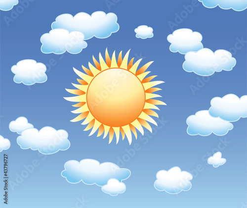 Poster Ciel vector sun and clouds in the sky