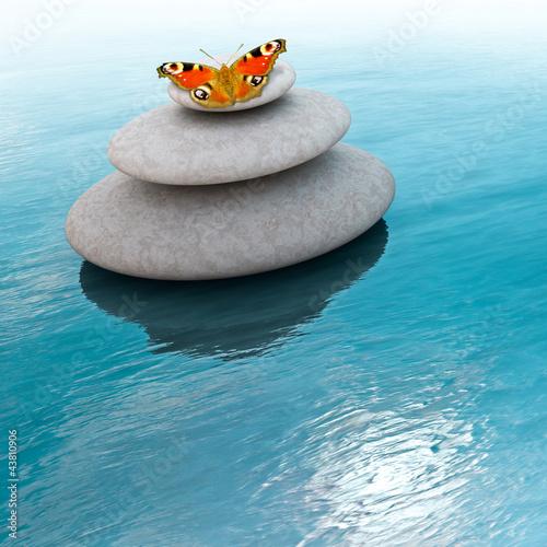 Doppelrollo mit Motiv - Zen Steine