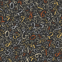 Abstract Mathematics Background. Color Figures Seamless Pattern.
