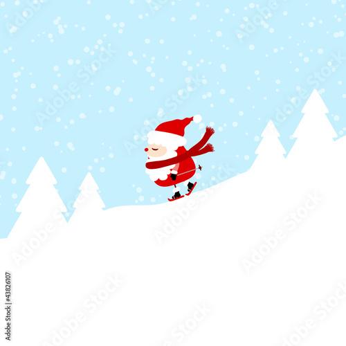 Fototapety, obrazy: Santa Skiing Downhill Winter Forest
