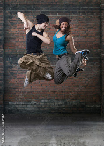 Foto op Canvas Dance School Passion dance couple jumping.