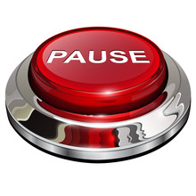 Pause Button, 3d Red Glossy Metallic Icon