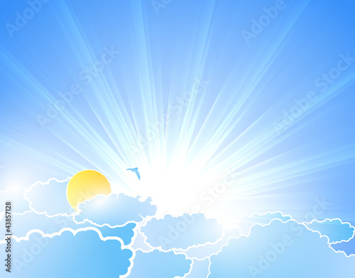 Poster Ciel Vector sunburst background with clouds
