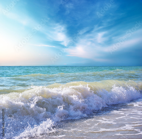 Foto-Leinwand - Beautiful coast of beach at day. Nature composition.