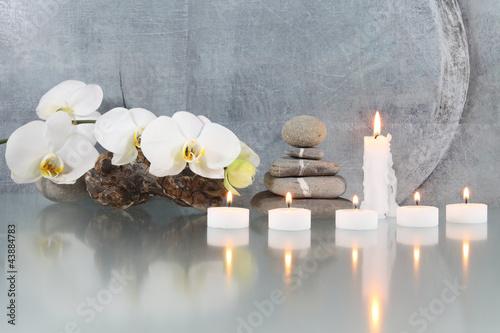 Canvas Prints Orchid Stilleben mit Orchideeenblüten und Kerzen