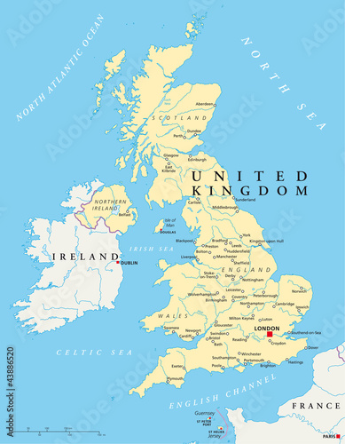 Poster Carte du monde United Kingdom political map with capital London, national borders, most important cities, rivers and lakes. Country in Europe. Illustration with English labeling on white background. Vector.