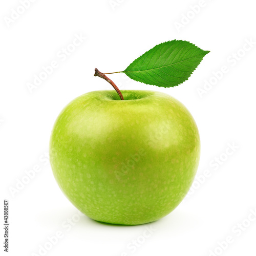 Valokuva  Green apple with leaf isolated on white background