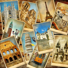 Vintage Travel Collage Backgro...